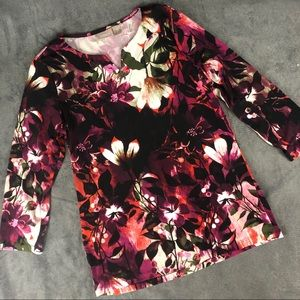 ⬇️22 Chicos's V Neck Tunic Blouse Floral Print s 0